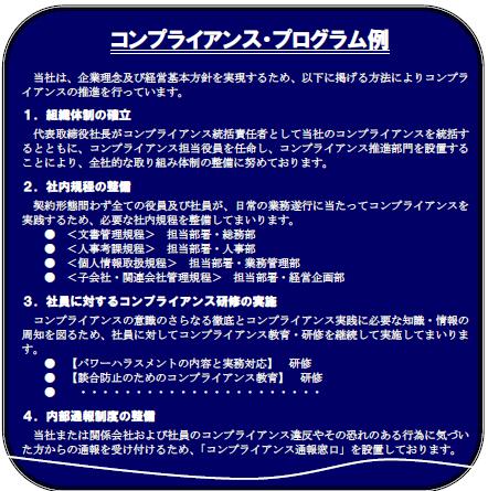コンプライアンス・プログラムの例